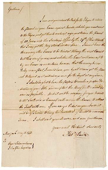 3020: New York Letter, 1773, Legal Matters