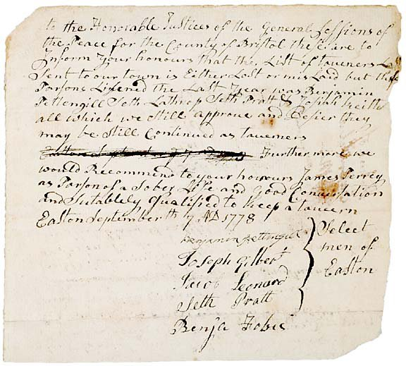 3021: List of Licensed Tavern Keepers in MA, 1778