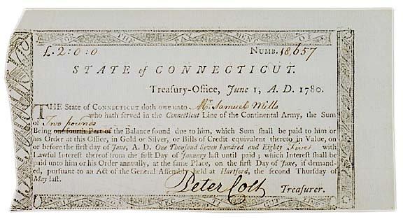3022: 1780, Connecticut Revolutionary Debt Certificate