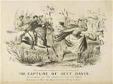 3146 Lithograph 1865 The Capture of Jeff Davis