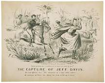 3163 c 1865 THE CAPTURE OF JEFF DAVIS Lithograph