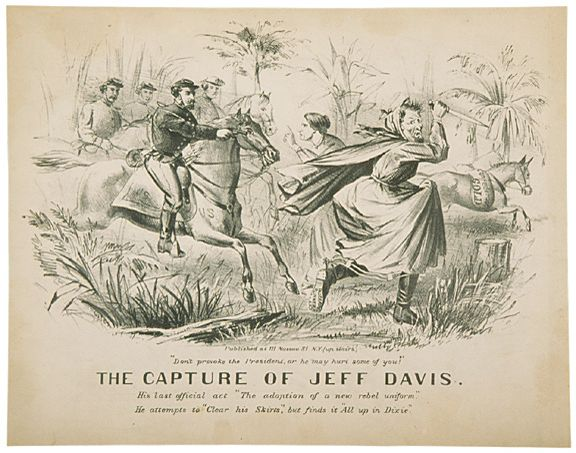 3163: c. 1865, THE CAPTURE OF JEFF DAVIS, Lithograph