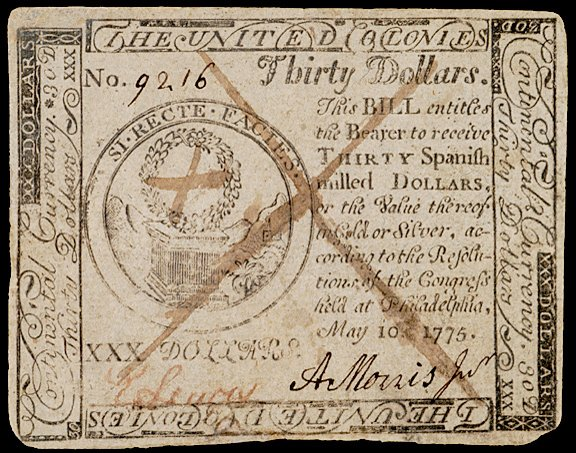 3453: Continental Currency, May 10, 1775, $30, Tory