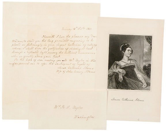 Lot 1: Louisa C. Adams Signature, 1842