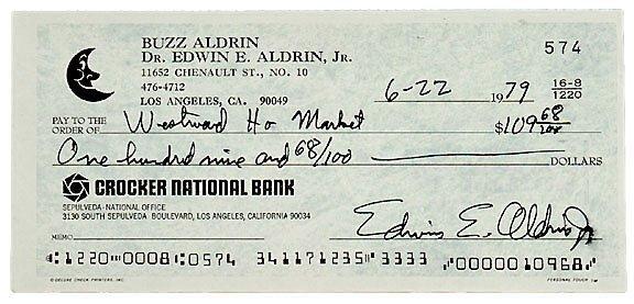 Lot 3: Astronaut Buzz Aldren Signed Check
