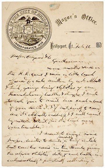 Lot 7: P.T. Barnum Signed Letter 1876