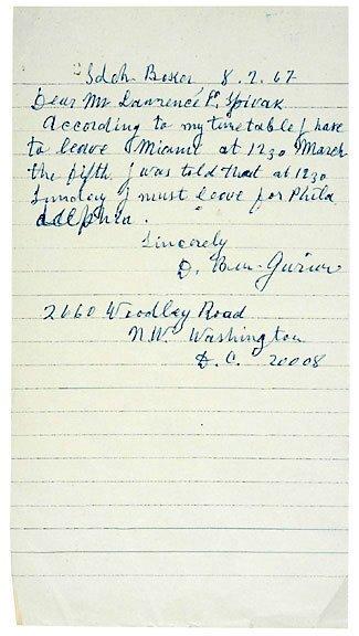 Lot 8: David Ben-Gurion Signed Letter 1967