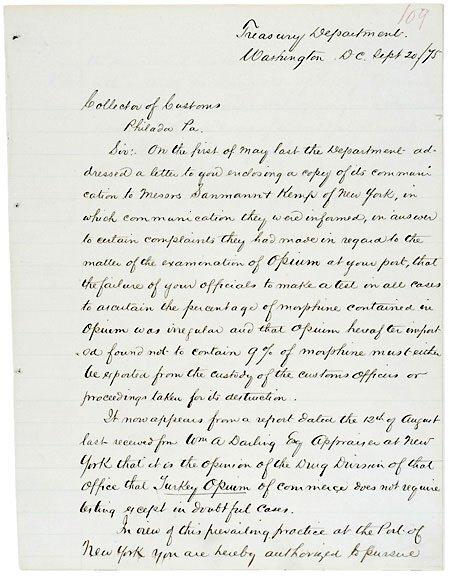 Lot 10: Benj. H. Bristow Signed Letter 1875