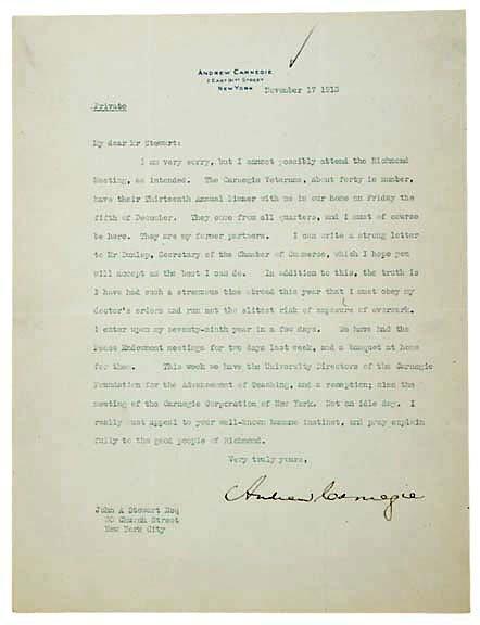 Lot 12: Andrew Carnegie Signed Letter 1913