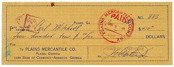 Lot 15: Jimmy Carter Signed Check, 1959
