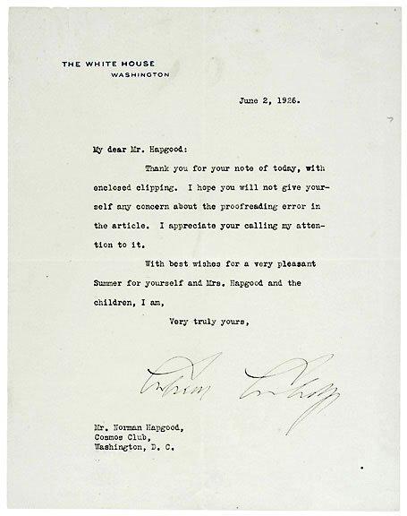 Lot 19: Calvin Coolidge Signed Letter 1926