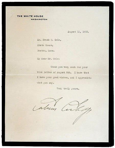 Lot 20: 1923 Signed Letter-Calvin Coolidge