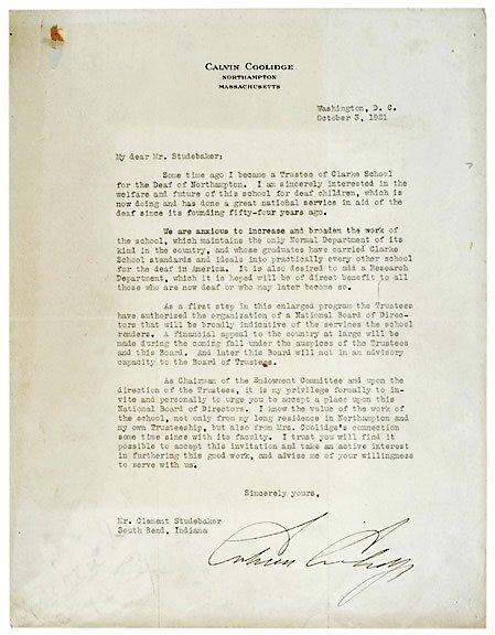 Lot 21: Calvin Coolidge Signed Letter 1921