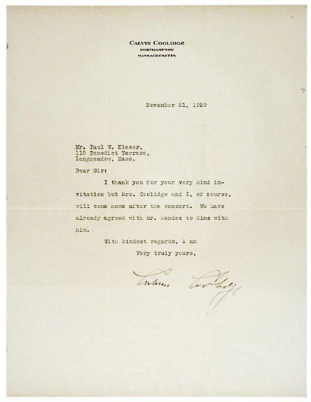Lot 22: Calvin Coolidge Signed Letter 1929