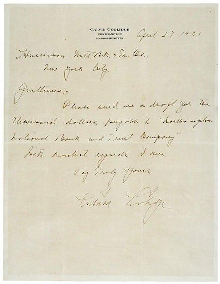 Lot 23: Calvin Coolidge Signed Letter 1931