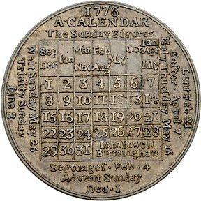 Lot 1058: 1776 Calendar Medal by John Powell