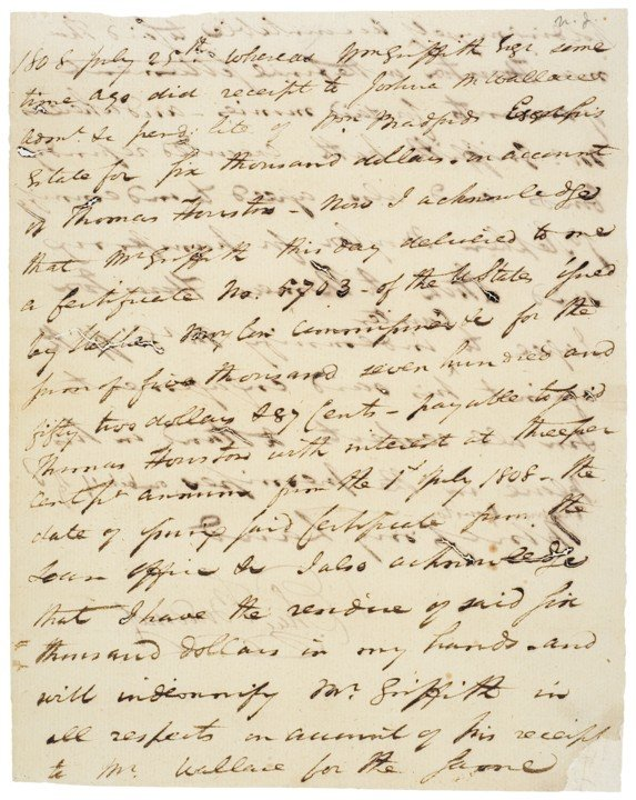 ELIAS BOUDINOT, 1808 Manuscript Document Signed