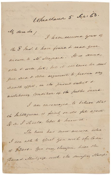 JAMES BUCHANAN, 1863, Autograph Letter Signed