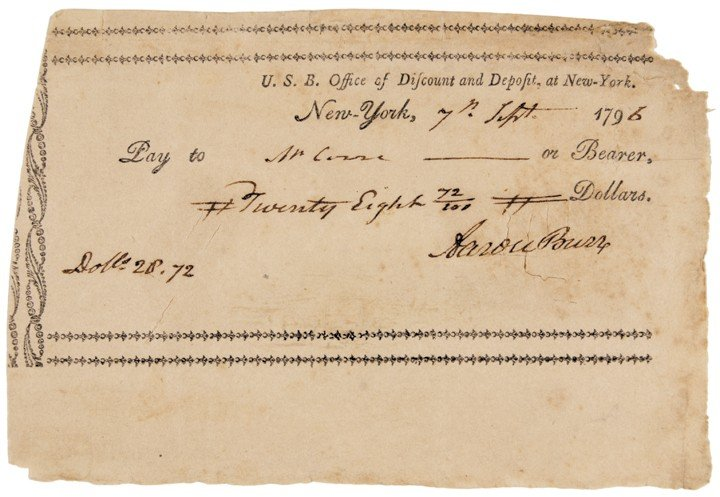 AARON BURR, Signed 1796 Printed Check
