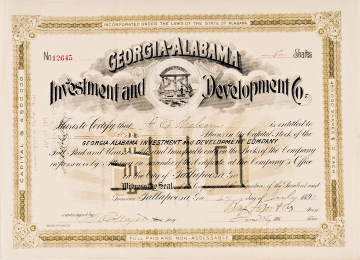 BENJAMIN F. BUTLER, Signed Georgia-Alabama Stock