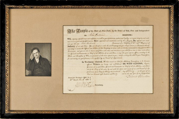 DEWITT CLINTON, 1820 Document Signed as Governor