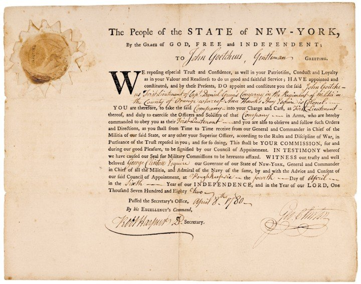 GEORGE CLINTON, New York Military Appointment