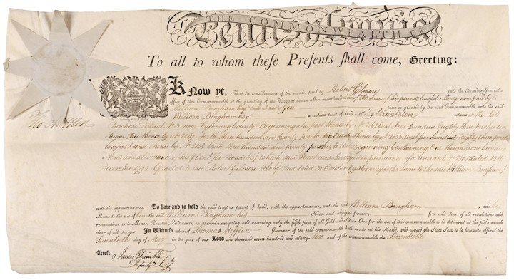 THOMAS MIFFLIN, Land Grant Document Signed