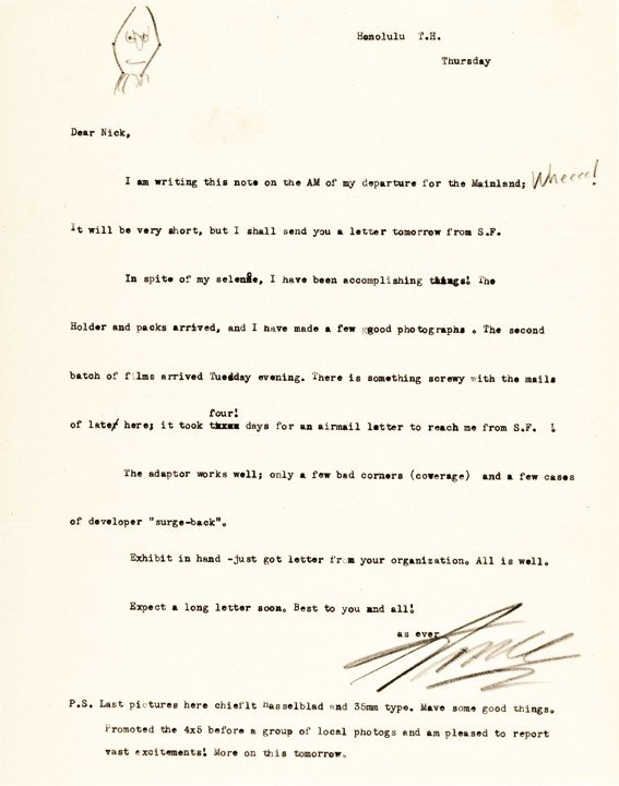 1: ANSEL ADAMS Signed Letter with Drawing of Himself