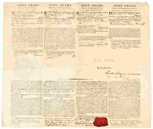 JOHN ADAMS, 1797 Signed Four Language Ships Paper