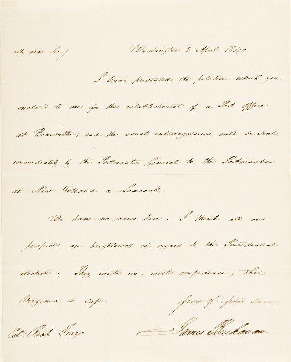 4: Impressive JAMES BUCHANAN Autograph Letter Signed