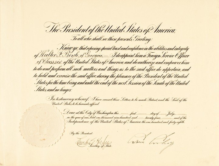 6: CALVIN COOLIDGE Signed Presidential Appointment