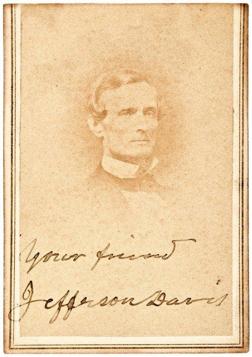 9: JEFFERSON DAVIS Signed + Inscribed CDV Photograph