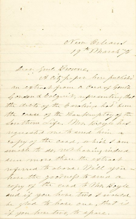 10: 1876  JEFFERSON DAVIS Autograph Letter Signed