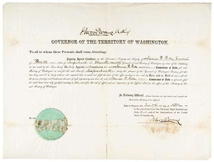 11: ELWOOD EVANS, 1865 Acting Governor of Washington