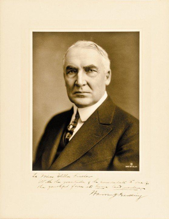 15: WARREN G. HARDING Photograph Signed + Inscribed