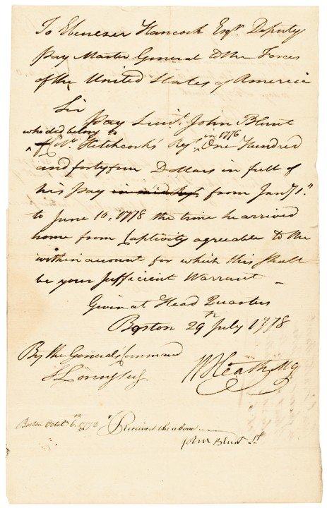 16: WILLIAM HEATH 1778 Rev. War Dated Document Signed