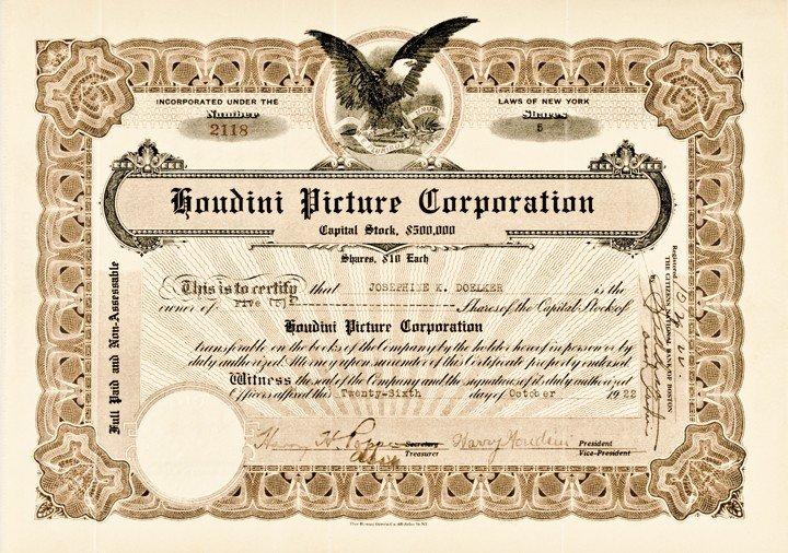 17: Rare HARRY HOUDINI Signed Stock Certificate
