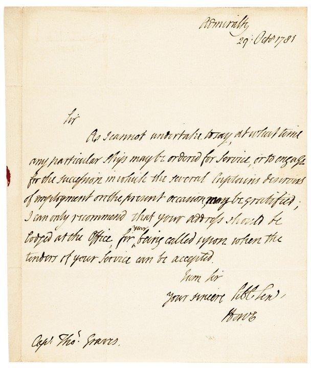 18: RICHARD HOWE, 1781 Autograph Letter Signed
