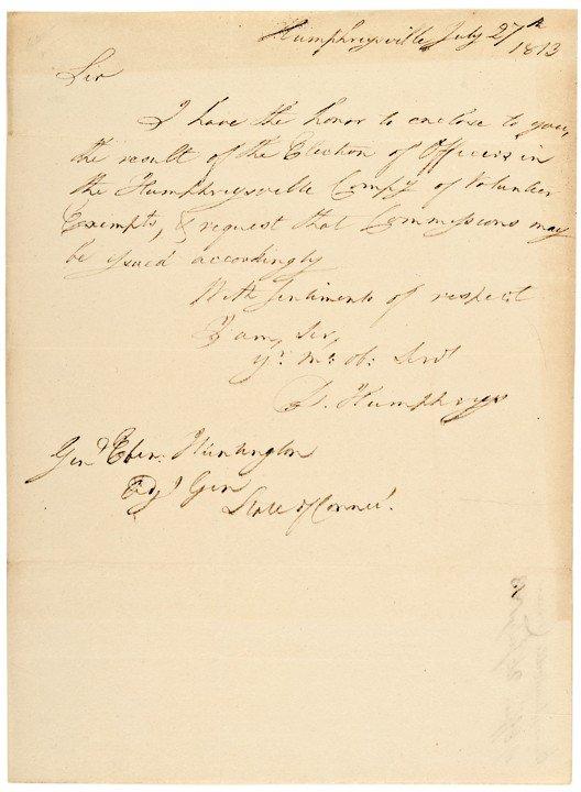 19: DAVID HUMPHREYS, 1813 Autograph Letter Signed