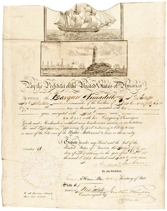 20: ANDREW JACKSON, Signed Ornate Ships Passport