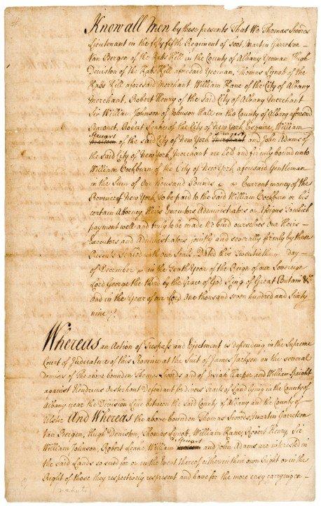 21: WILLIAM JOHNSON, 1769 Manuscript Document Signed