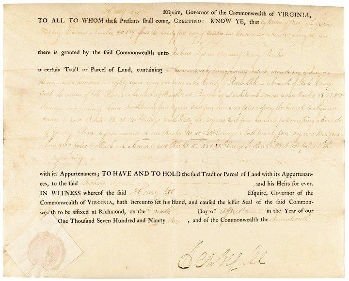 23: HENRY -LIGHT HORSE HARRY- LEE, Signed Land Grant