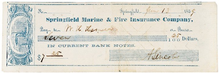 26: ABRAHAM LINCOLN, Signed Personal Check