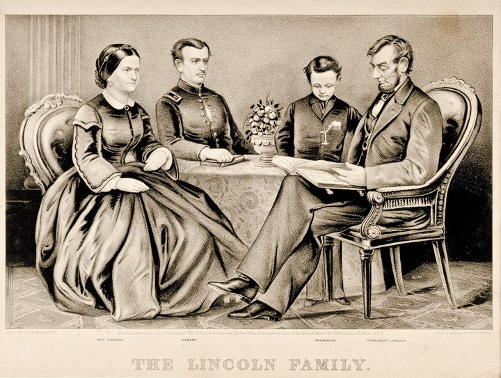 88: Currier + Ives Lithograph: The Lincoln Family