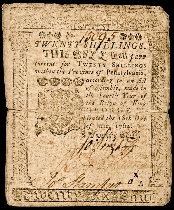 116: Colonial Currency, Printed by B. FRANKLIN, 1759