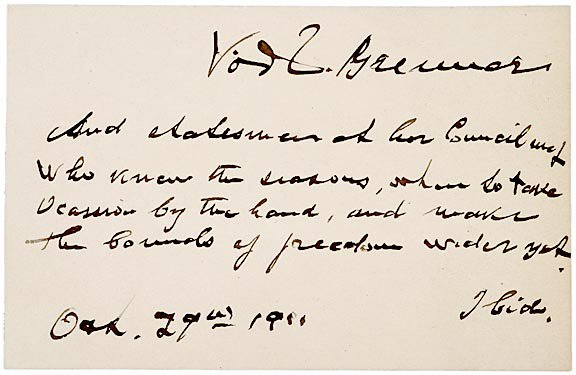 21: VICTOR D. BRENNER Autograph Quotation 1911