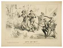 763 1865 Civil War Lithograph JEFFS LAST SHIFT