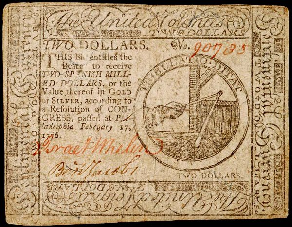 1046: Colonial Currency, Signer: BENJAMIN JACOBS, 1776
