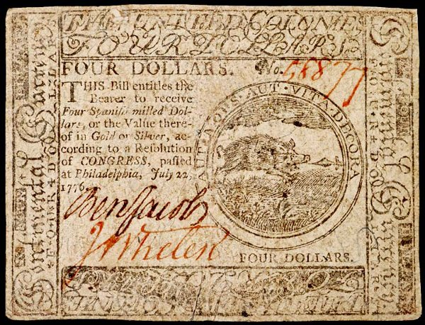 1047: Colonial Currency, Signer: BENJAMIN JACOBS, 1776