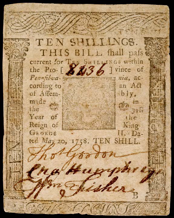 1049: Printed by B. Franklin, PA, May 20, 1758, 10s